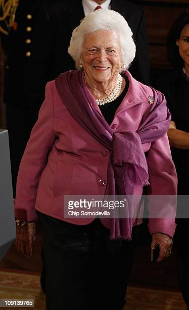 Former first lady Barbara Bush arrives for the 2010 Medal of Freedom presentation ceremony in the East Room of the White House February 15 2011 in...