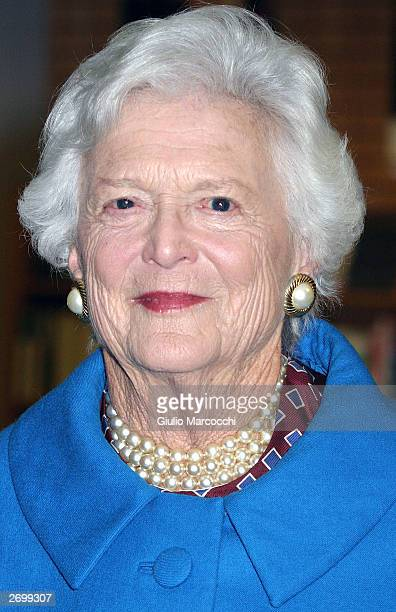 """Former first lady Barbara Bush attends an in-store appearance to promote her new book """"Reflection"""" at Borders Books November 4, 2003 in Westwood,..."""
