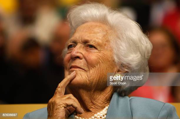 Former first lady Barbara Bush attends day two of the Republican National Convention at the Xcel Energy Center on September 2, 2008 in St. Paul,...