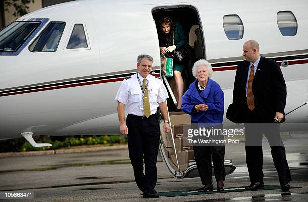 Former First Lady Barbara Bush disembarks a plane along with Senator Hutchison on their way to a campaign stop Senior Senator and candidate for Texas...