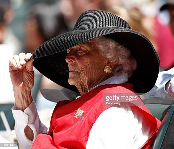 Former first lady Barbara Bush during a baseball game between the Pittsburgh Pirates and Houston Astros at Minute Maid Park on April 25 2010 in...