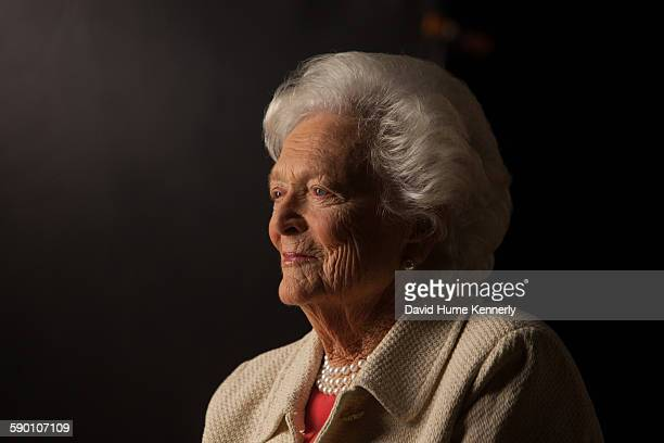 Former First Lady Barbara Bush is interviewed for 'The Presidents' Gatekeepers' project about the White House Chiefs of Staff at the Bush Library,...