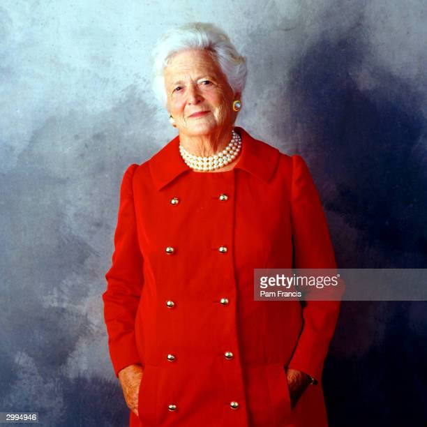 Former First Lady Barbara Bush photographed on August 23, 2001 in Houston, TX.