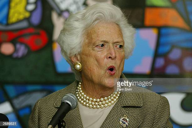 Former first lady Barbara Bush speaks about her new book Reflections Life After the White House at the Biltmore Hotel brunch to benefit the Miami...