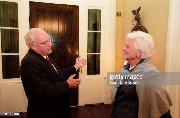 Former First Lady Barbara Bush talks with Vice Presidential candidate Dick Cheney at the Texas Governor's Mansion on election night November 7 2000