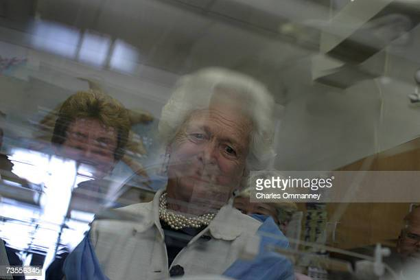 Former First Lady Barbara Bush visits and meets with families September 30 2003 at the Barbara Bush Childrens Hospital at the Portland Maine Medical...