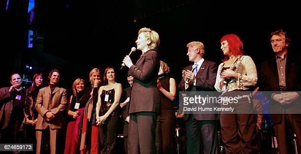 Former First Lady Hillary Clinton surrounded by family and celebrities during her 53rd birthday celebration at the Rosebud Club in New York City on...