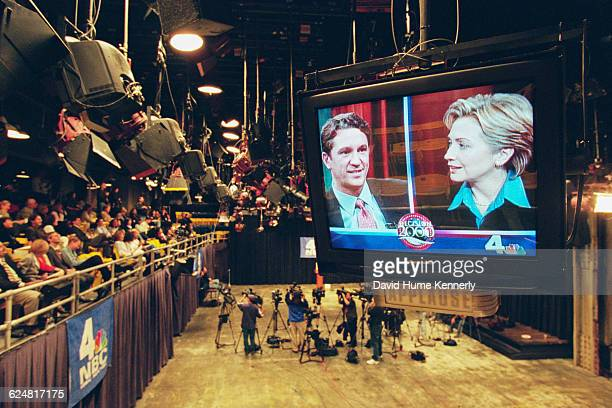 Former First Lady Hillary Clinton, who was running for the US Senate, at a debate with her Republican rival Rick Lazio on October 27, 2000.