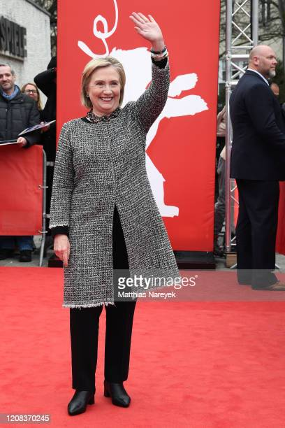 Former First Lady Hillary Rodham Clinton poses at the Hillary premiere during the 70th Berlinale International Film Festival Berlin at Haus Der...