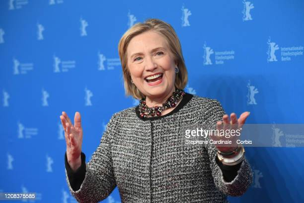 """Former First Lady Hillary Rodham Clinton poses at the """"Hillary"""" premiere during the 70th Berlinale International Film Festival Berlin at Haus Der..."""