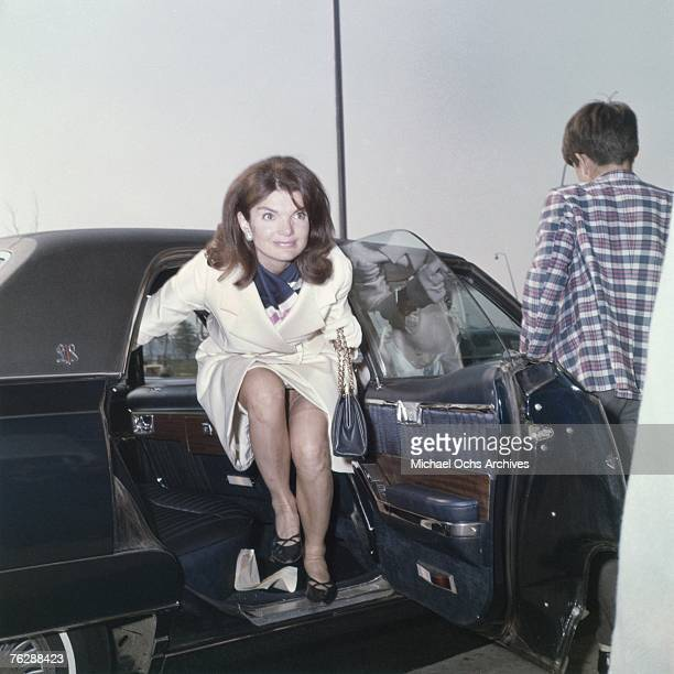 Former First Lady Jacqueline Kennedy gets out of a car in an airport circa the late1960s in Florida