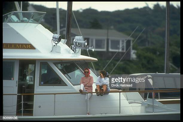 Former First Lady Jacqueline Kennedy Onassis daughter Caroline Kennedy Schlossberg on bd yacht Relemar