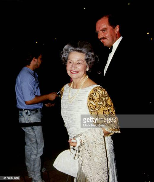 Former First Lady Lady Bird Johnson arrives at the MD Anderson Cancer research center fundraiser gala Houston Texas USA October 19 1991