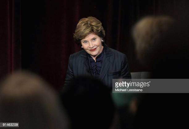 Former First Lady Laura Bush addresses the audience during a QA at the 3rd Annual More Magazine Reinvention Convention at Pier Sixty at Chelsea Piers...