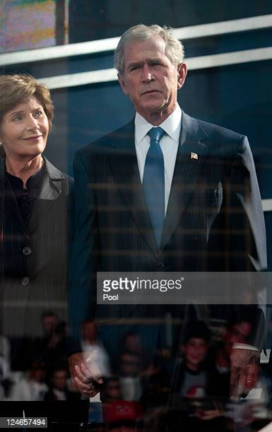 Former first lady Laura Bush and former President George W Bush attend the tenth anniversary ceremonies of the September 11 2001 terrorist attacks at...