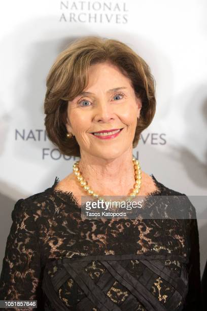 Former First Lady Laura Bush arrives at the National Archives Foundation Annual Gala honoring her with the Records Of Achievement Award at The...