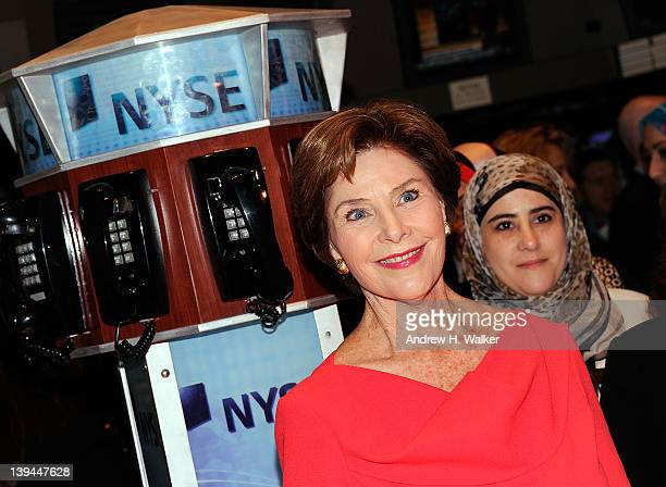 Former First Lady Laura Bush rings the opening bell at the New York Stock Exchange on February 21 2012 in New York City