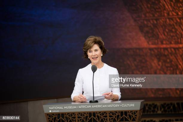 Former First Lady Laura Bush speaks at the opening of the National Museum of African American History and Culture Washington DC September 24 2016