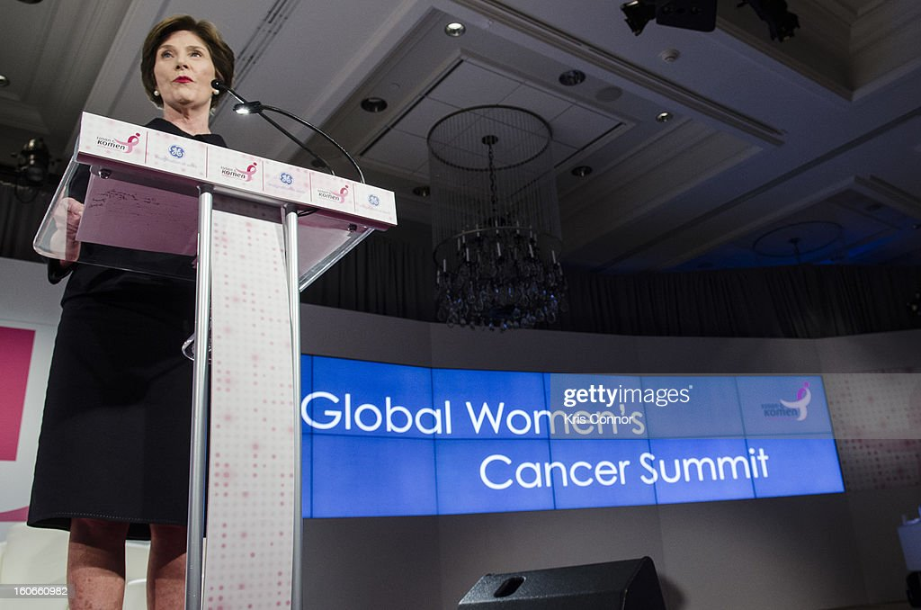 Former First Lady Laura Bush speaks during the 2013 Susan G. Komen Global Women's Cancer Summit on World Cancer day at the Fairmont Hotel on February 4, 2013 in Washington, DC.