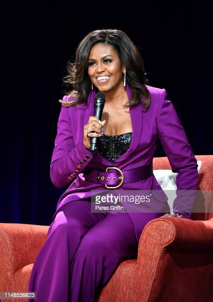 Former First Lady Michelle Obama attends 'Becoming An Intimate Conversation with Michelle Obama' at State Farm Arena on May 11 2019 in Atlanta Georgia