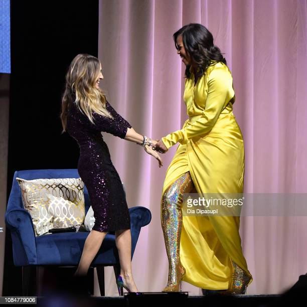 Former first lady Michelle Obama discusses her book Becoming with Sarah Jessica Parker at Barclays Center on December 19 2018 in New York City