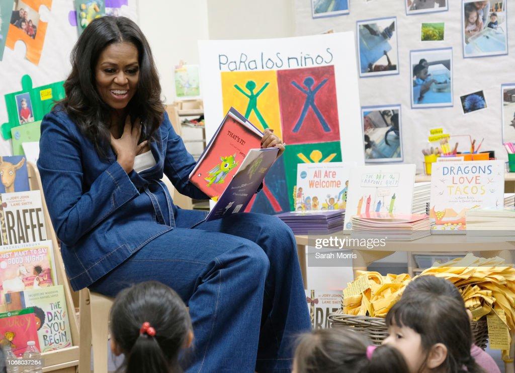 Michelle Obama Visits Students At Para Los Niños School In Los Angeles : News Photo