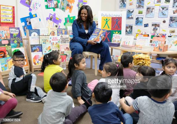 Former First Lady Michelle Obama reads to students at Para Los Niños on November 15 2018 in Los Angeles California