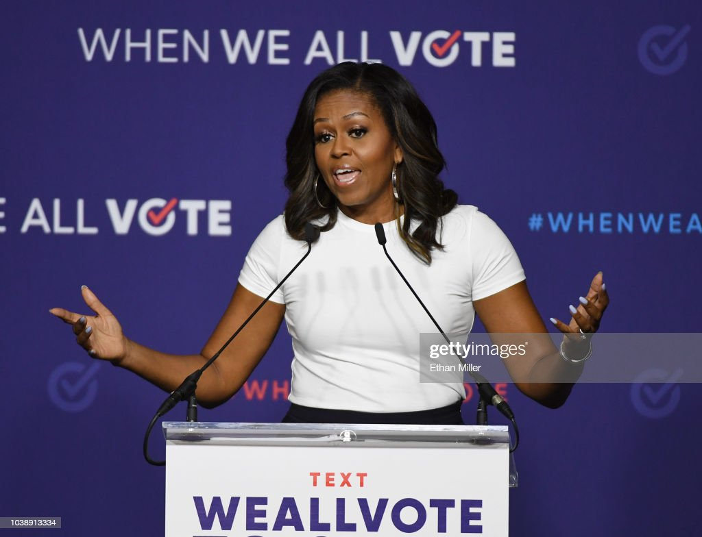 Michelle Obama Attends When We All Vote Rally In Las Vegas