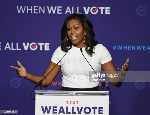 Former first lady Michelle Obama speaks during a rally for When We All Vote's National Week of Action at Chaparral High School on September 23 2018...
