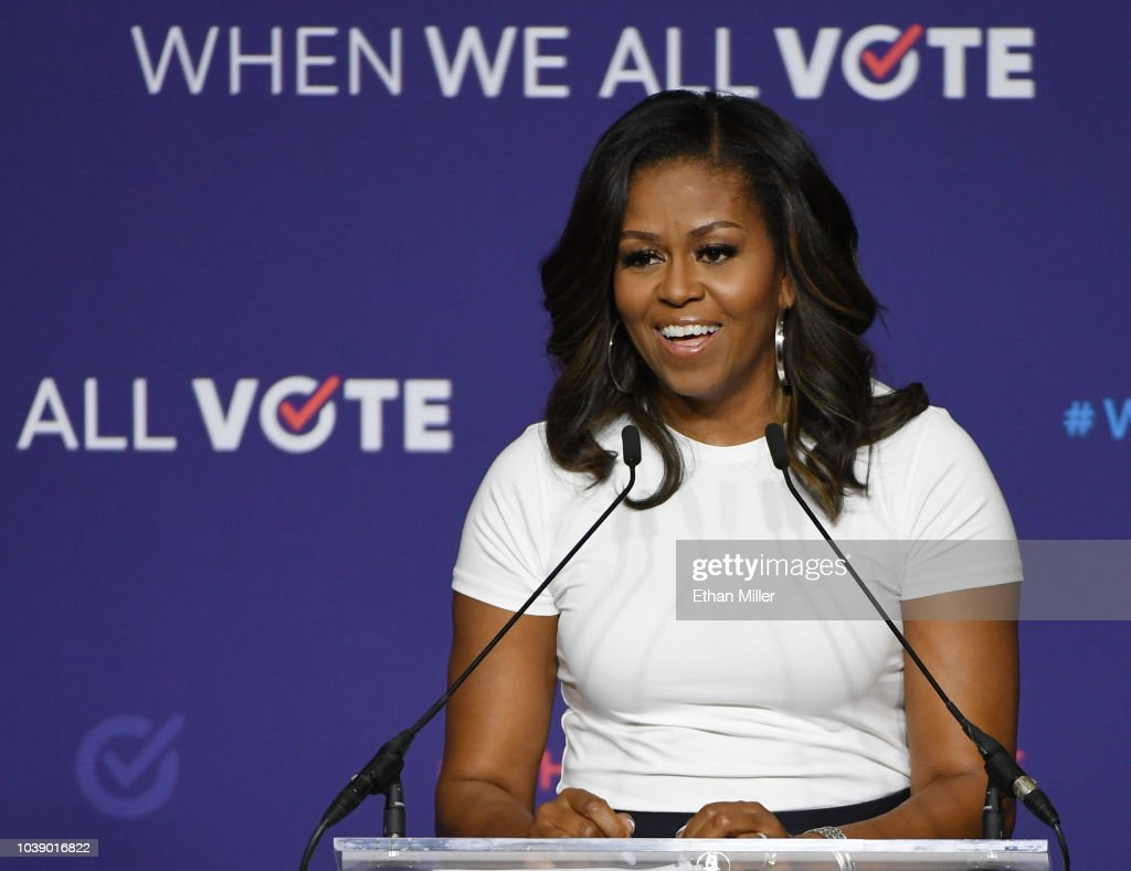 Michelle Obama Attends 'When We All Vote' Rally In Las Vegas : News Photo
