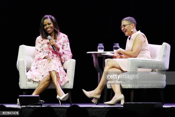 Former First Lady Michelle Obama speaks emphasizing that women must celebrate their strength during a live conversation with The Women's Foundation...