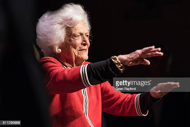Former first lady Mrs Barbara Bush waves to the crowd at a campaign event for her son Republican presidential candidate Jeb Bush February 19 2016 in...
