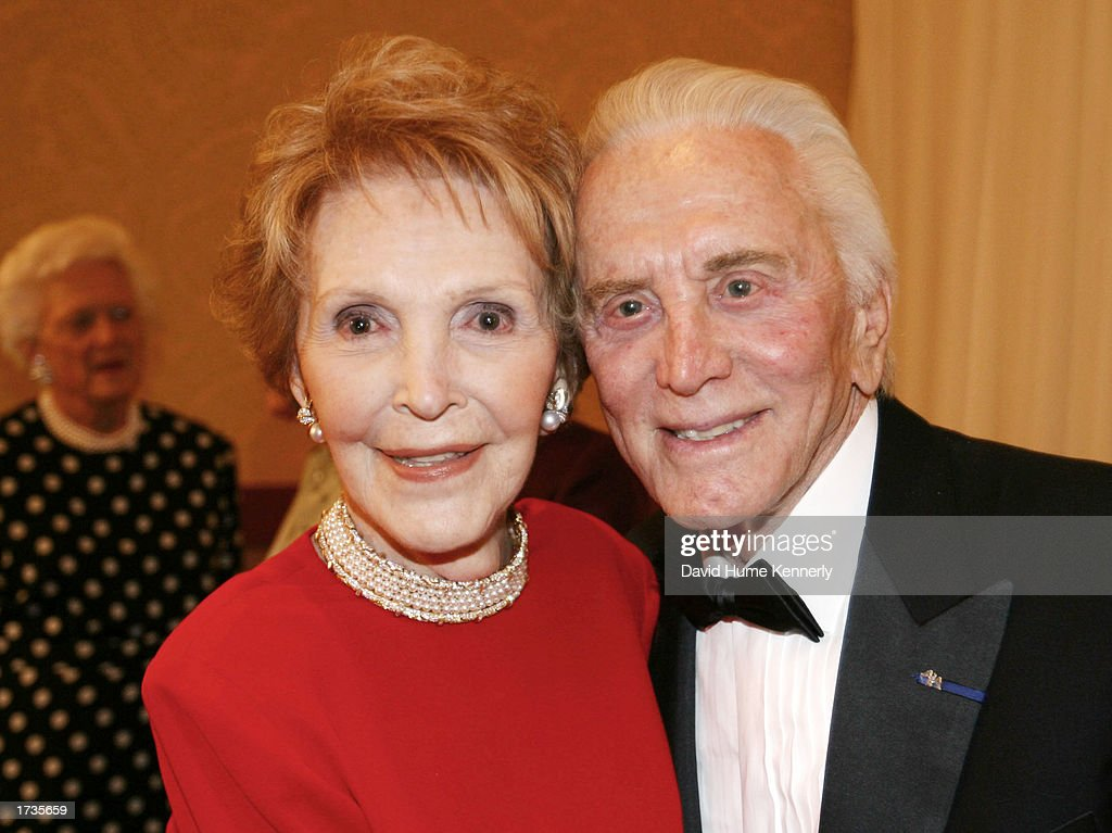 Former first lady Nancy Reagan and actor Kirk Douglas attend the 20th anniversary celebration of the Betty Ford Center January 17, 2003 in Indian Wells, California.