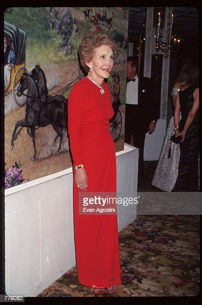 Former First Lady Nancy Reagan attends The Red White Blue Ball October 30 1996 in New York City The Rita Hayworth Gala held its twelfth anniversary...