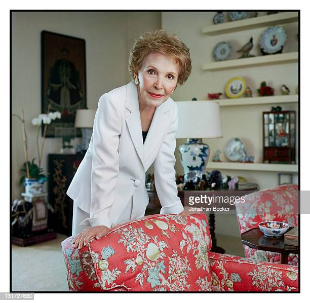 Former first lady Nancy Reagan is photographed at home in her living room for Vanity Fair Magazine on July 1 2009 in Bel Air California Published...