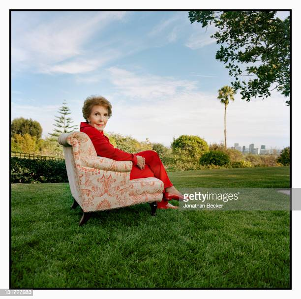 Former first lady Nancy Reagan is photographed on the lawn of her home with Century City in the distant for Vanity Fair Magazine on July 1 2009 in...