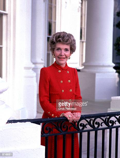 Former First Lady Nancy Reagan poses for a portrait at the White House in Washington DC
