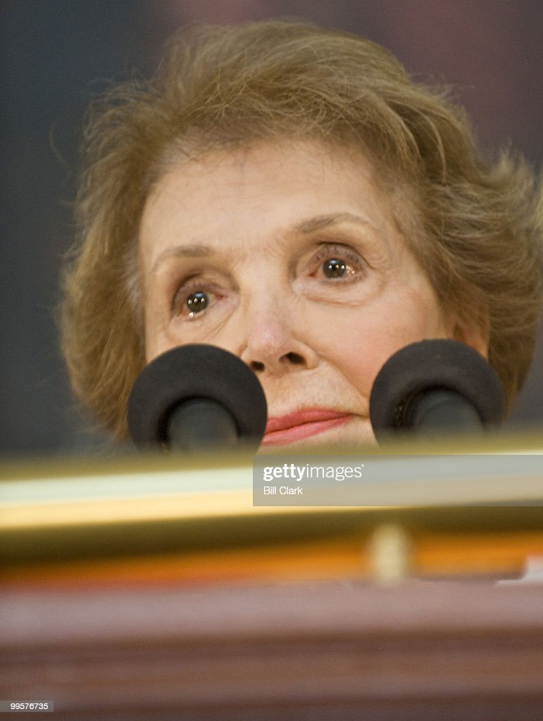 Former First Lady Nancy Reagan speaks during the ceremony to unveil a statue of former President Ronald Reagan that will become part of the National Statuary Hall Collection on in the U.S. Capitol on Wednesday, June 3, 2009.