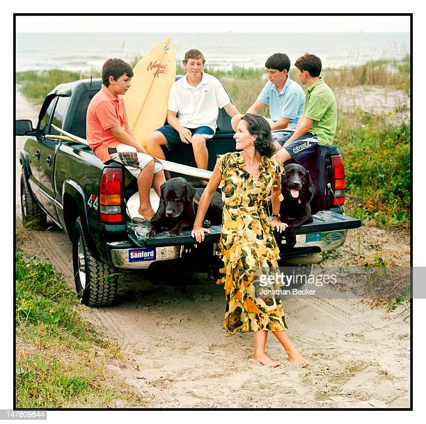 Former first lady of South Carolina/exwife of Governor Mark Sanford Jenny Sanford and sons Blake Marshall Landon and Bolton and pose for Vogue...