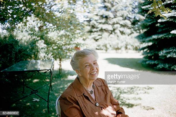 Former First Lady Eleanor Roosevelt in a garden at her home in New York in 1957 The home and its grounds is now known as the Eleanor Roosevelt...