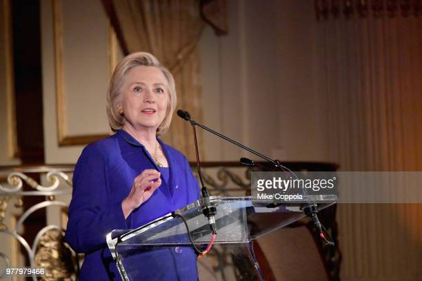 Former First Lady of the United States Hillary Clinton speaks onstage during the 8th Annual Elly Awards hosted by the Women's Forum of New York at...
