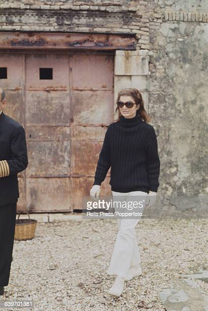Former First Lady of the United States, Jacqueline Kennedy Onassis pictured on the Greek island of Skorpios, owned by her husband Aristotle Onassis,...