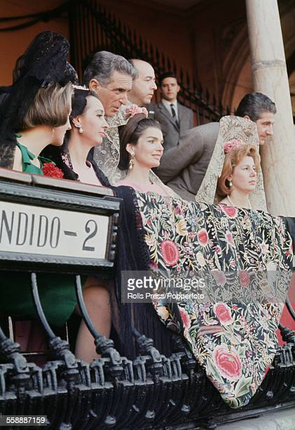 Former First Lady of the United States Jacqueline Kennedy pictured with second from left Aline Griffith Countess of Romanones and right Cayetana...
