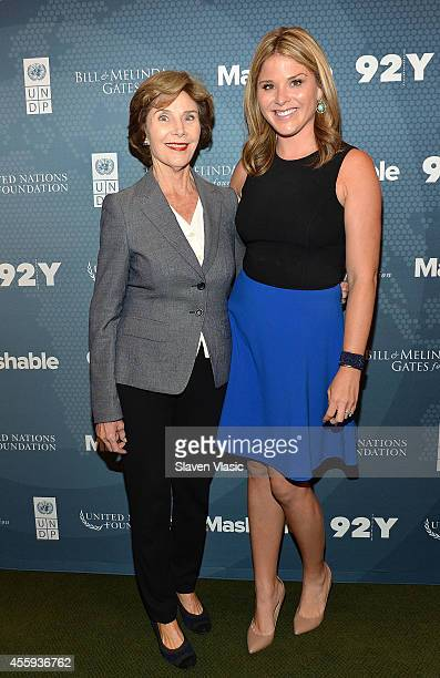 Former First Lady of the United States Laura Bush and daughter author Jenna Bush Hager attend the 2014 Social Good Summit at 92Y on September 22 2014...
