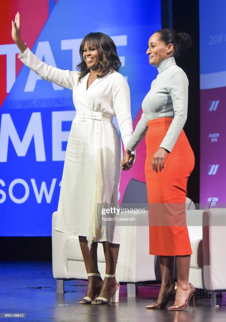 Former First Lady of The United States Michelle Obama (L) and actress Tracee Ellis Ross have a conversation on stage at The United State of Women Summit 2018 - Day 1 on May 5, 2018 in Los Angeles, California.
