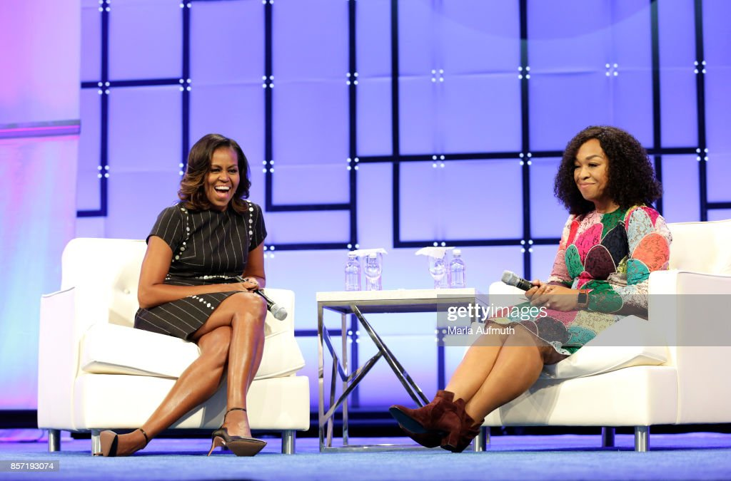 Former First Lady of the United States Michelle Obama and Screenwriter, director and producer Shonda Rhimes speak on stage during Pennsylvania Conference For Women 2017 at Pennsylvania Convention Center on October 3, 2017 in Philadelphia, Pennsylvania.