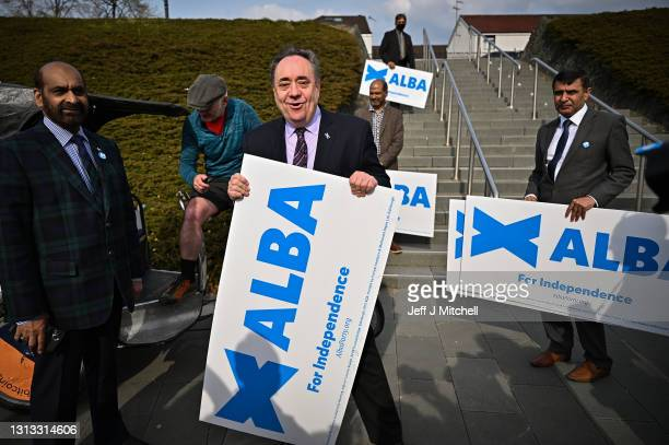 Former First Minister Alex Salmond and leader of the Alba party unveils the Glasgow Candidates Michelle Ferns, Ailsa Gray, Shahid Farooq and Lynn...