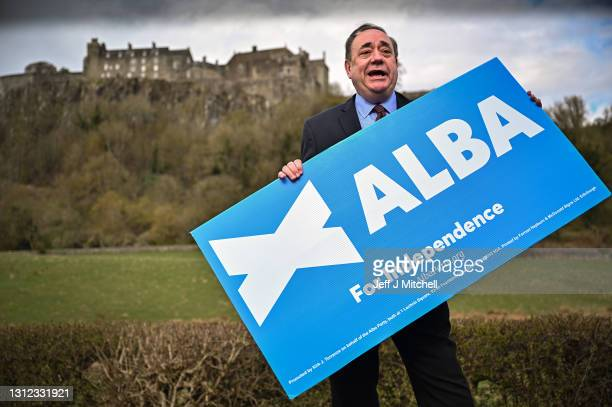 Former First Minister and leader of the Alba Party Alex Salmond campaigns at Stirling Castle with ALBA Mid Scotland and Fife Candidates Neale Hanvey,...