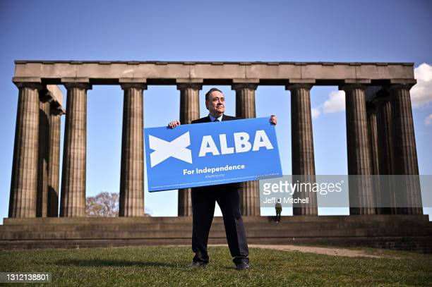 Former First Minister and leader of the Alba Party Alex Salmond campaigns on Calton Hill on April 12, 2021 in Edinburgh, Scotland. The former First...