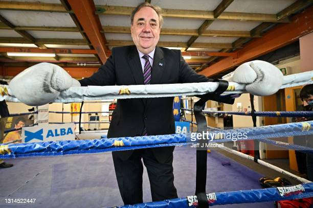 Former First Minister and leader of the Alba Party, Alex Salmond, poses for a picture with Kenny MacAskill in the boxing gym of former world champion...